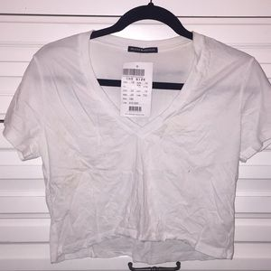 Brandy Melville cropped white t shirt new